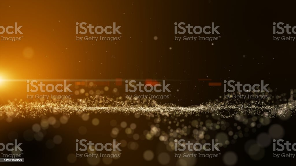 Dark Gold Yellow And Glow Particle Circle Abstract