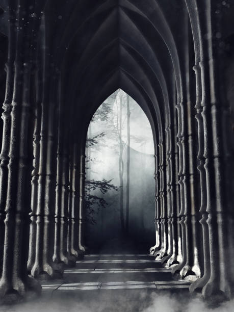 Dark gothic corridor with columns stock photo