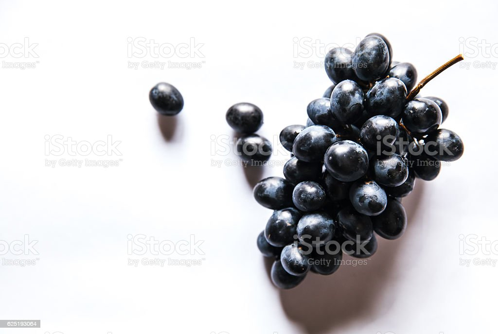Dark grapes, Isolated on white background stock photo