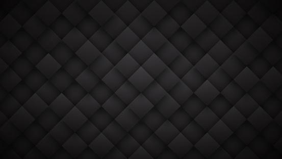 822063742 istock photo Dark Gray 3D Rhombus Blocks Grid High Technology Black Abstract Background 1226720438