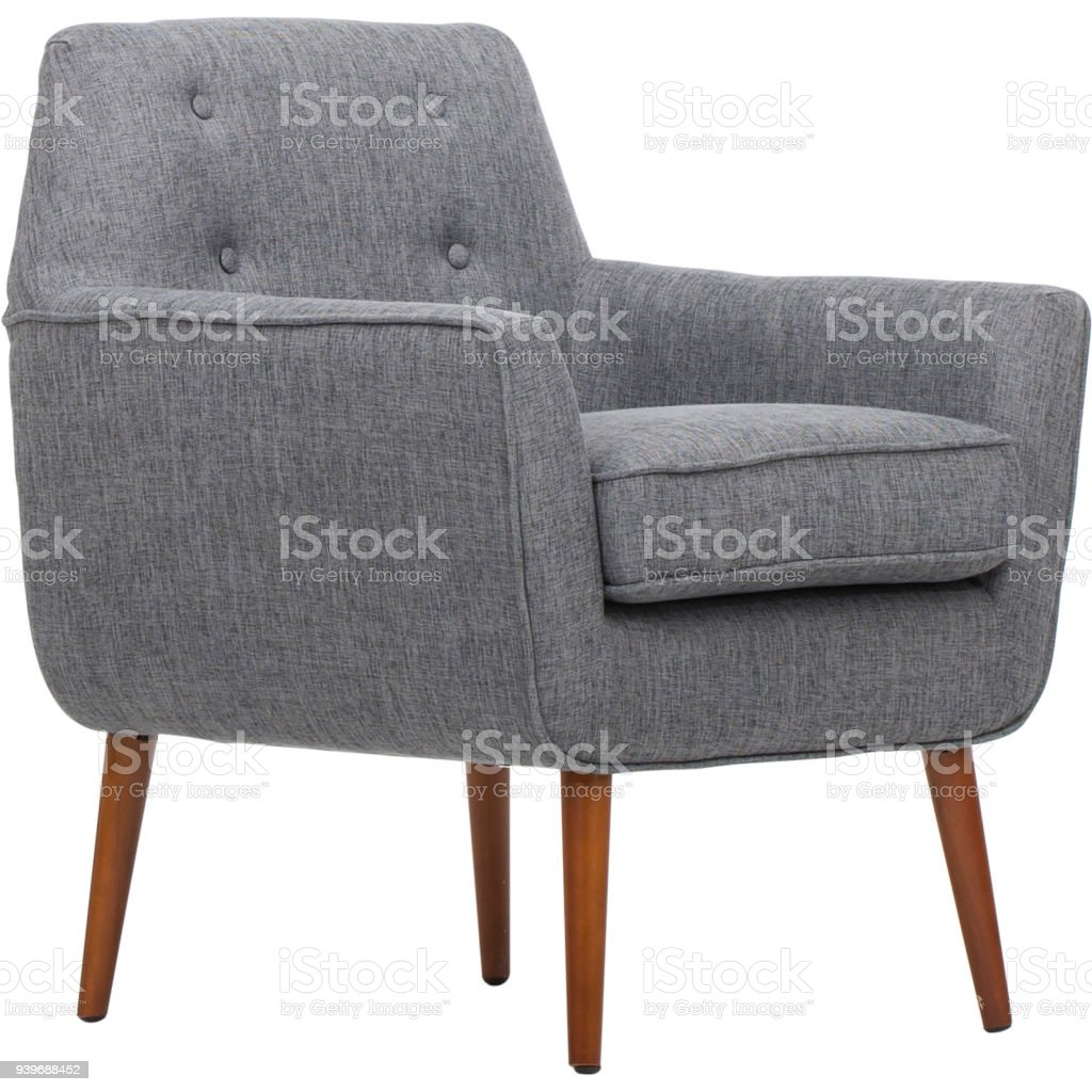 Dark Gray Living Rolled Top Club Chair stock photo