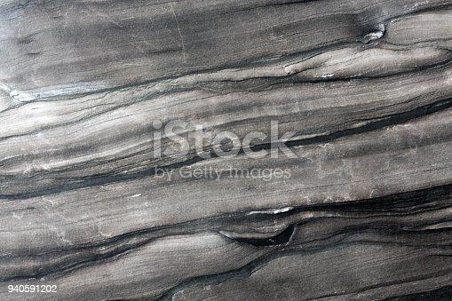 istock Dark gray marble texture, stone background 940591202