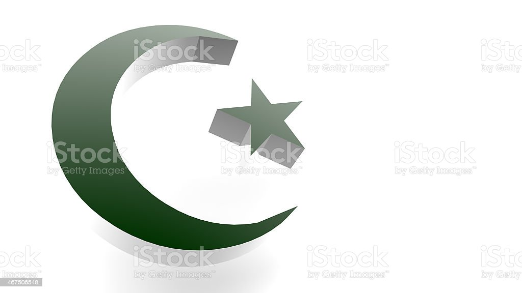 Dark Green 3d Crescent Moon And Star Symbol Of Islam Stock Photo