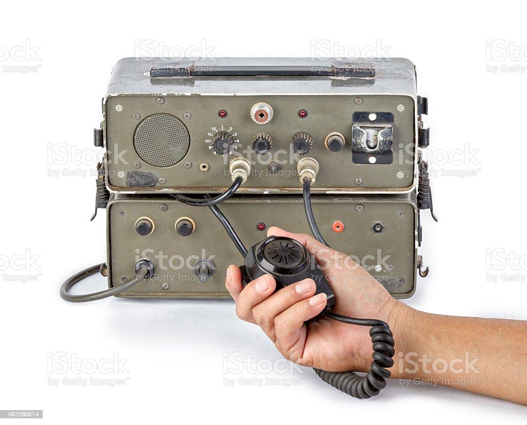 dark green amateur ham radio holding in hand stock photo