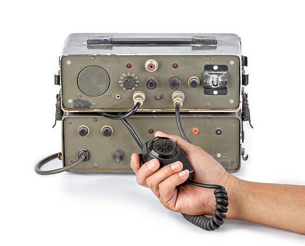 dark green amateur ham radio holding in hand - ham radio stock photos and pictures