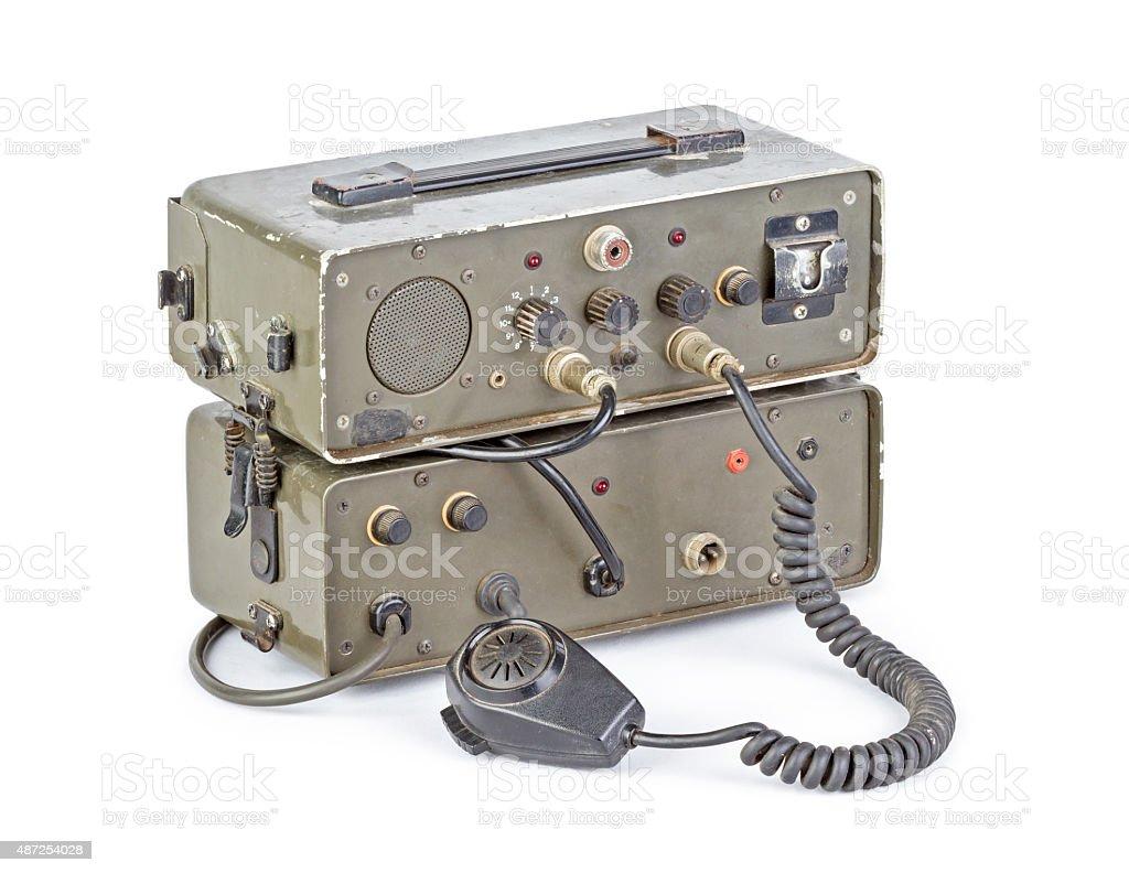 dark green amateur ham radio on white background stock photo