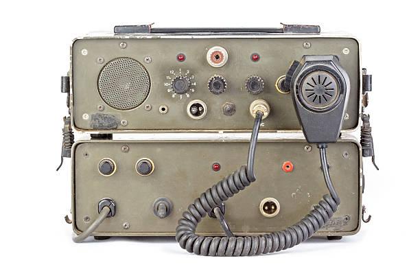 dark green amateur ham radio on white background - ham radio stock photos and pictures