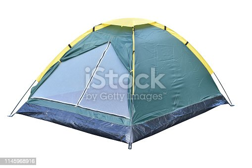 Camping tent isolated, dark green color dome tent isolated on white background.