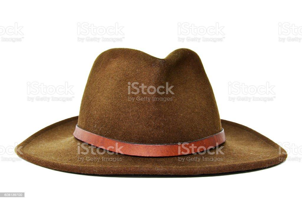 Dark Green cowboy hat with white background stock photo