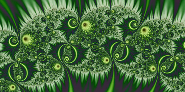 dark green curlicues tattoo like fractal image render - whiteway fractal stock photos and pictures