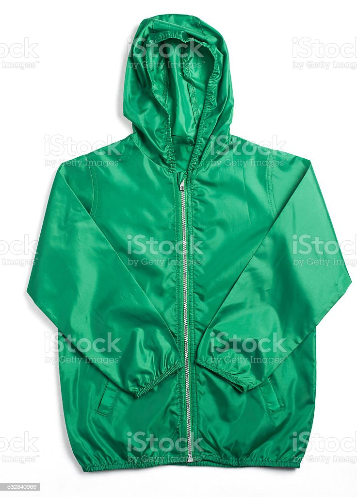 Dark Green Rain Coat with Hood stock photo