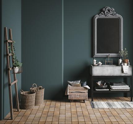 Dark green rustic bathroom, 3d render