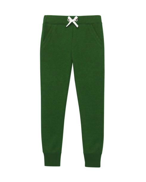 dunkel grün sport trainingshose isoliert weiß - sweatpants stock-fotos und bilder