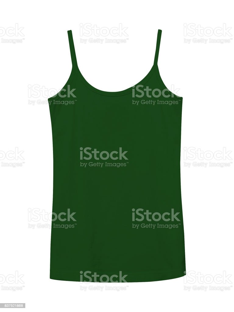 Dark green underwear sleeveless empty summer t shirt camisole isolated on white stock photo