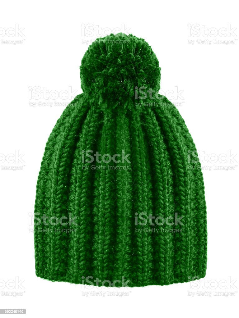 Dark green woolen winter cap hat with a pom pom pompon isolated on white stock photo