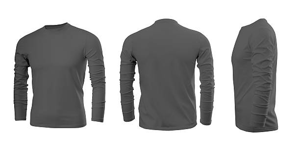 Dark grey men's T-shirt with long sleeves Dark grey men's T-shirt with long sleeves with rear and side views on a white background long sleeved stock pictures, royalty-free photos & images