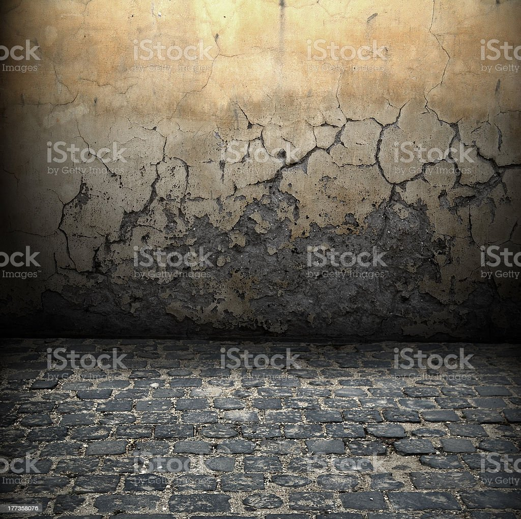 Dark grunge room with old wall and black floor stock photo