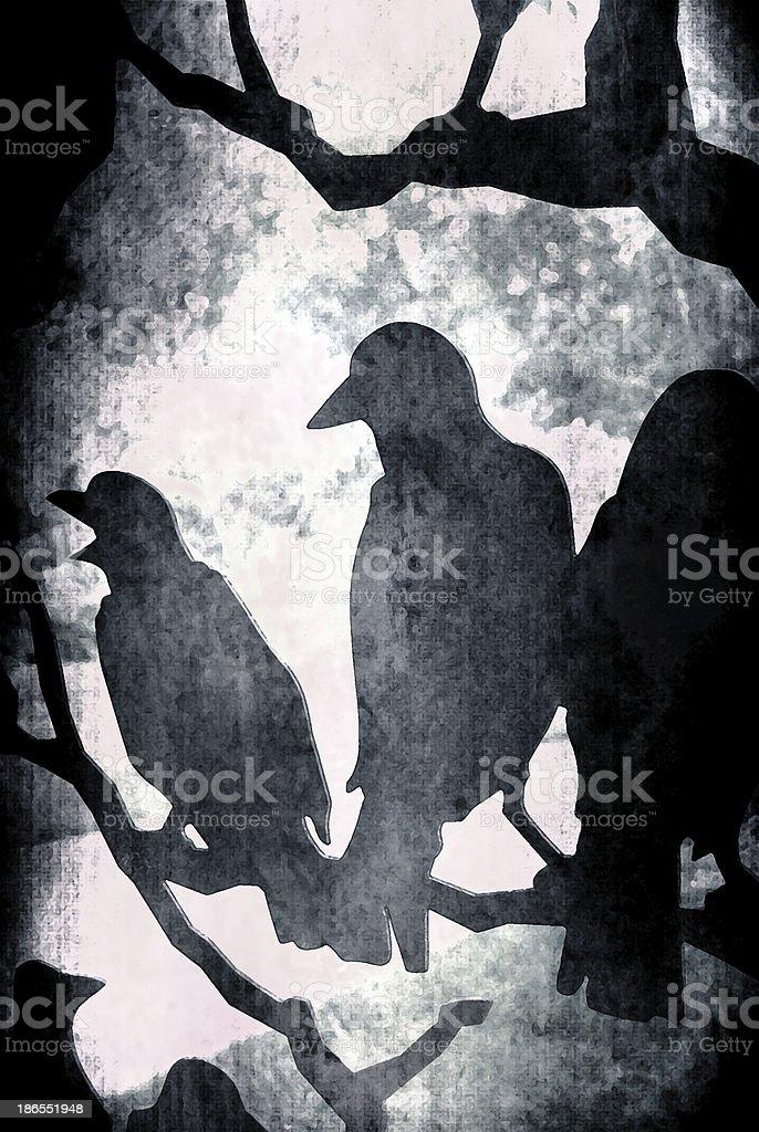 Dark Grunge Vector Ravens on Tree stock photo