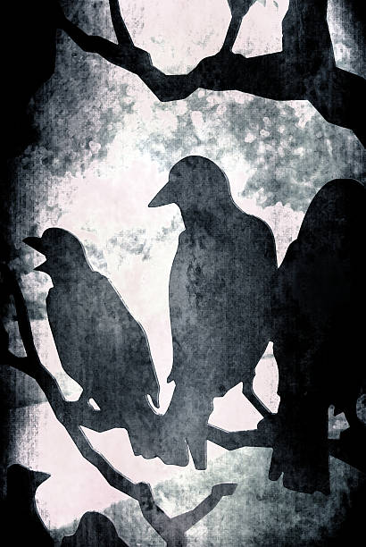 Dark Grunge Vector Ravens on Tree stock photo