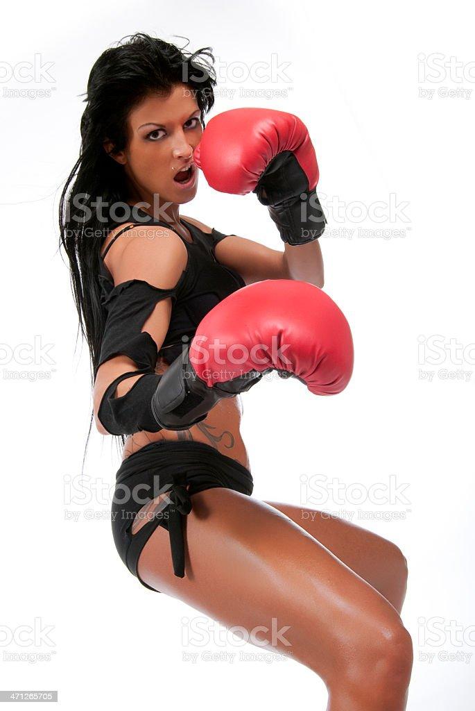 Dark hair boxing girl. stock photo