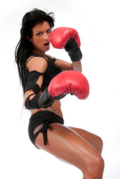 Dark hair boxing girl. stock photo