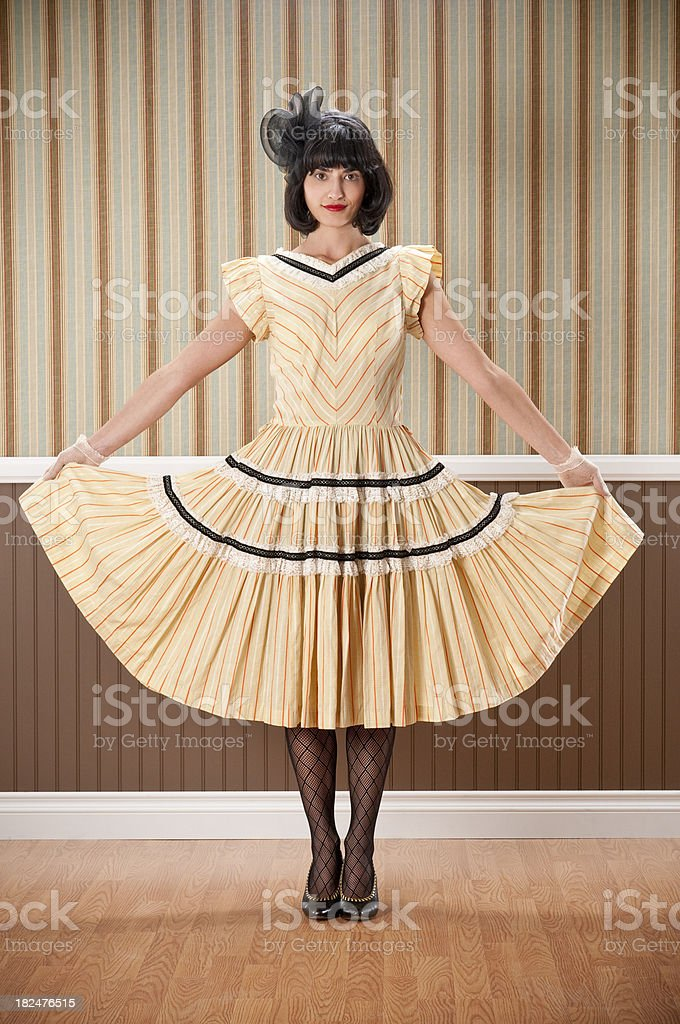 Dark Haired Woman Fanning Dress royalty-free stock photo