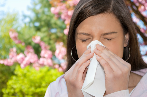 Dark Haired Woman Sneezing On A Spring Day Near Flowers Stock Photo - Download Image Now