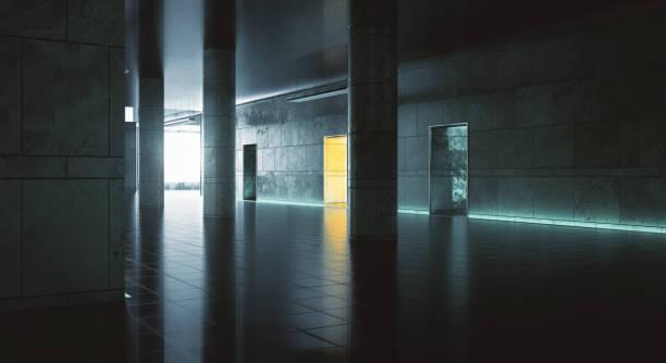 dunklen flur wiith sonnenlicht - betonwerkstein stock-fotos und bilder
