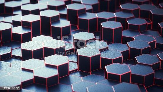 istock Dark hexagon geometry structure close-up 962614872