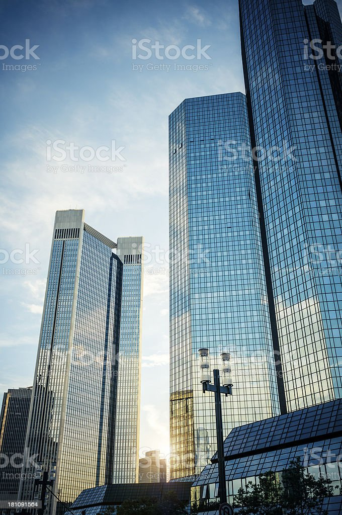Dark high-rise buildings at dawn - Deutsche Bank royalty-free stock photo