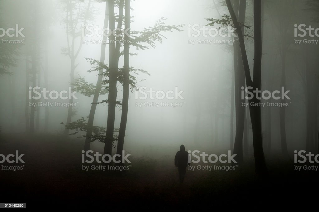 Dark horror man in creepy foggy forest stock photo