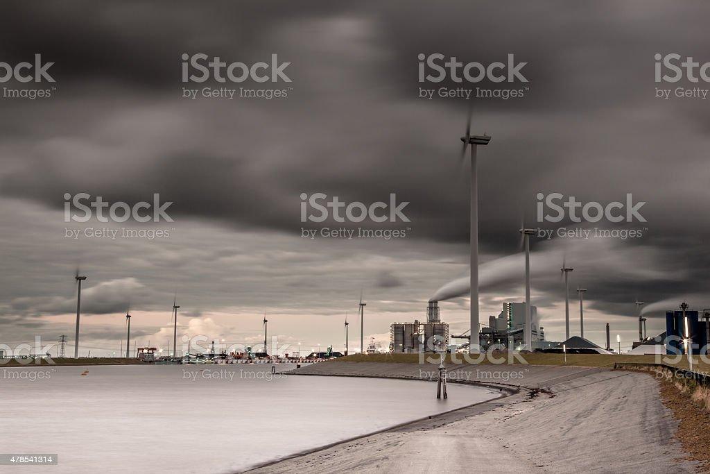 Dark industrial harbor landscape stock photo