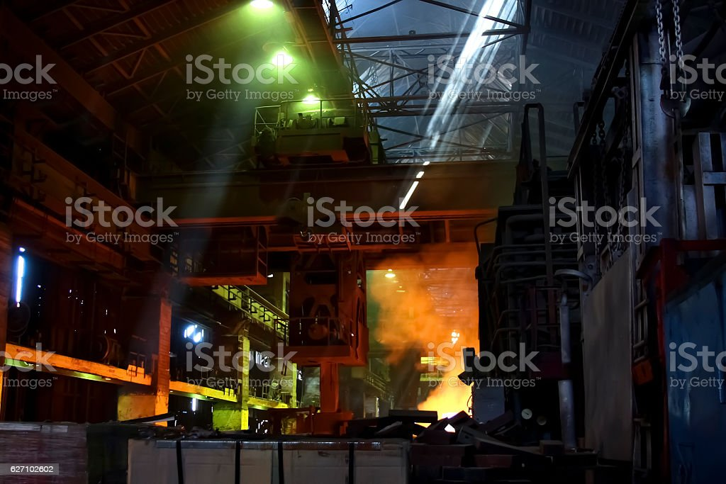 Dark industrial interior stock photo