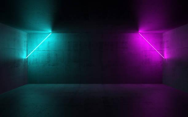 dunklen innenraum mit bunten neonlichter, 3-d - hellrosa zimmer stock-fotos und bilder