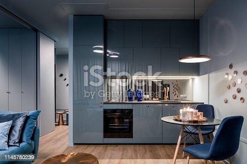istock Dark interior with open kitchen 1145780239