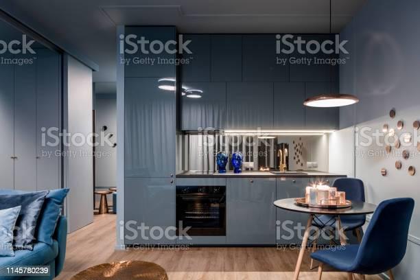 Dark interior with open kitchen picture id1145780239?b=1&k=6&m=1145780239&s=612x612&h=b07d6994g5t1opo6s4p4sj8qu653 ybnf7dq6ielkx0=