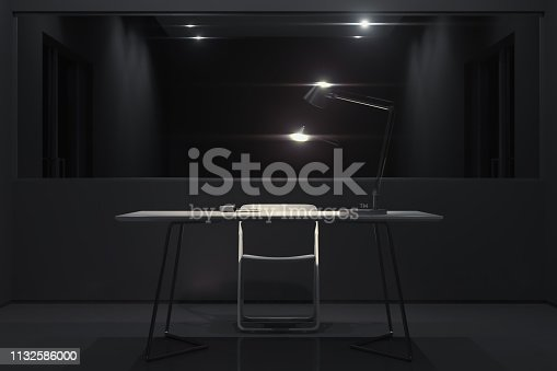 Dark interrogation room with switched-on lamp, chair and big mirror, 3d rendering.