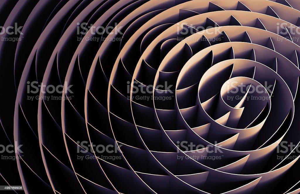 Dark intersected 3d spirals, abstract digital art stock photo