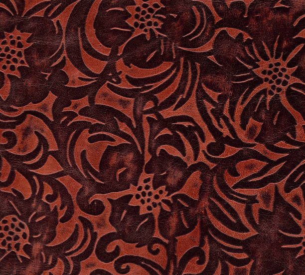 dark leather with floral engraving stock photo