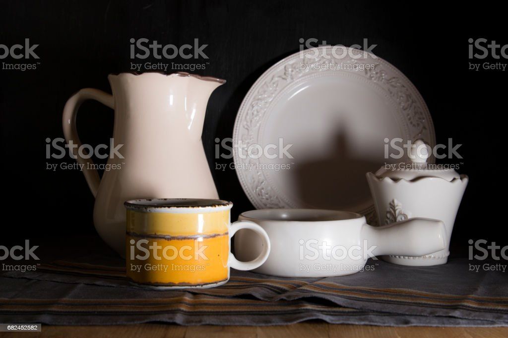 Dark light still life with country style pitcher Lizenzfreies stock-foto