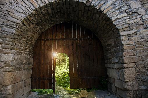 Dark medieval open wood doorway to summer secret garden
