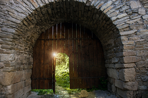 Dark medieval open wood doorway to summer secret garden