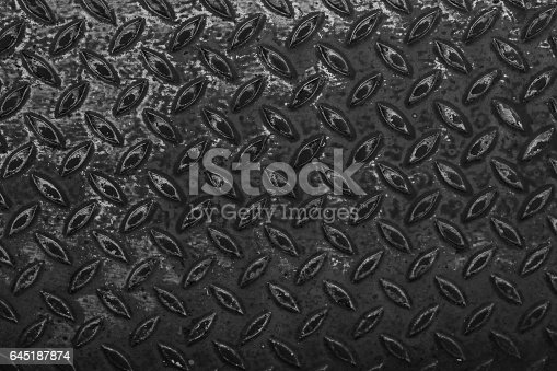 istock Dark metal floor plate texture background 645187874