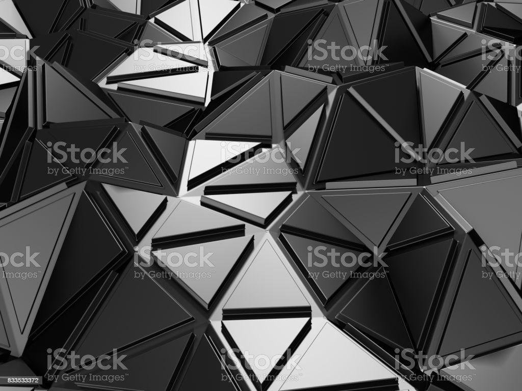 Dark Metallic Silver Triangle Pattern Industrial Background Stock