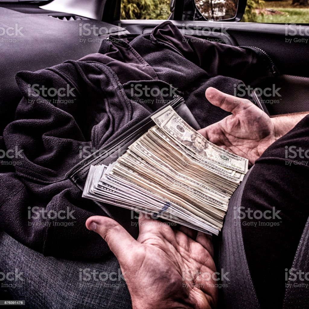 Dark Money - Five Thousand Dollars USA Paper Currency stock photo