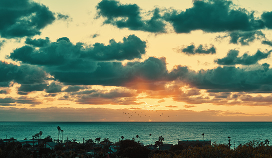 Dark Fluffy Cumulus clouds fill the sky atsunset in front of an orange sky and golden horizon with palm trees and coastline