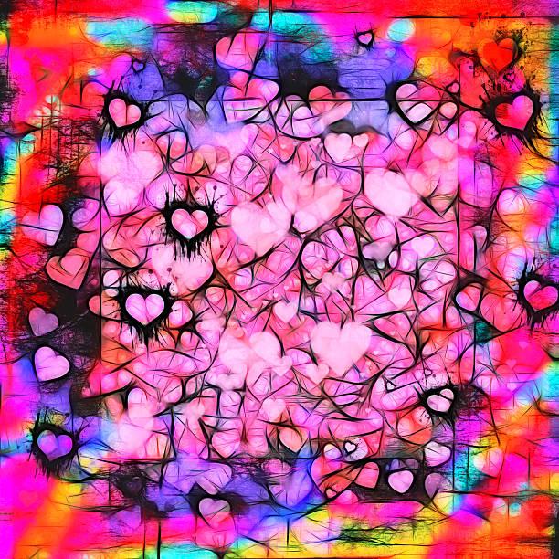 Dark moody grunge hearts abstract background stock photo