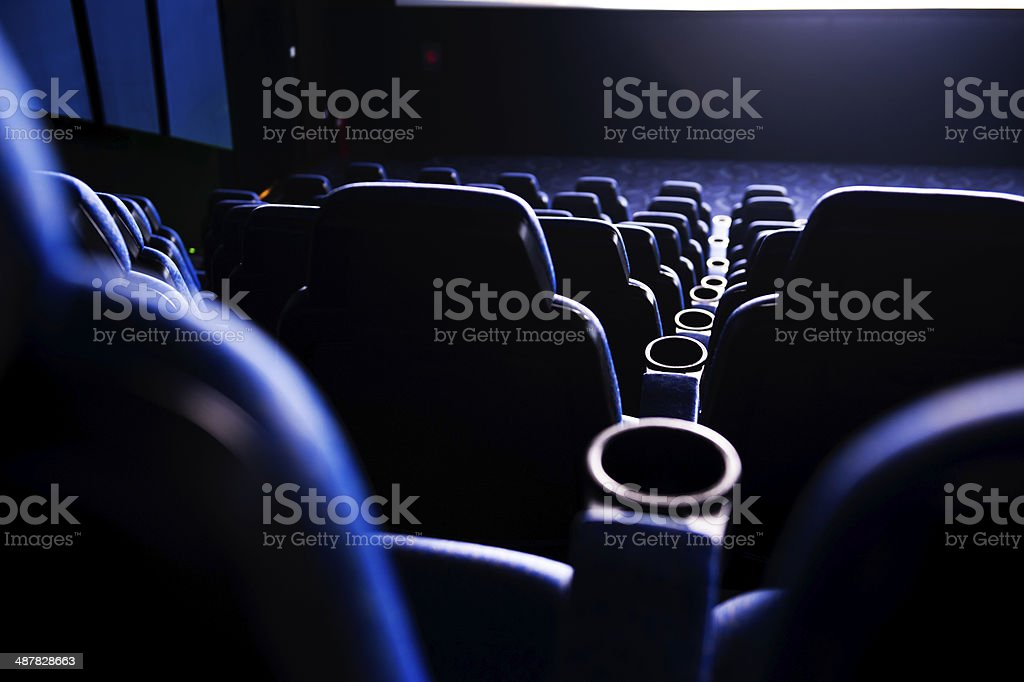 dark movie theatre stock photo
