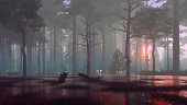 Mystical forest swamp with creepy dead trees at foggy early morning or dusk. Dreamlike woodland scenery 3D illustration from my own 3D rendering file.