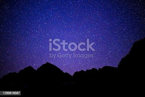 istock Dark Night and Stars Reflecting in Maroon Lake 1299818587